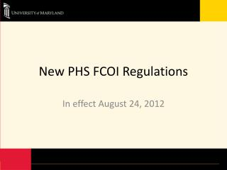 New PHS FCOI Regulations