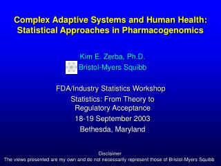 Complex Adaptive Systems and Human Health: Statistical Approaches in Pharmacogenomics