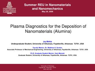 Plasma Diagnostics for the Deposition of Nanomaterials (Alumina)