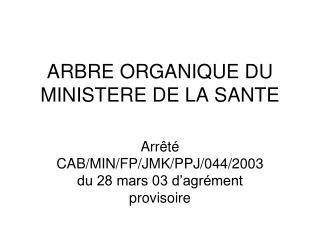ARBRE ORGANIQUE DU MINISTERE DE LA SANTE