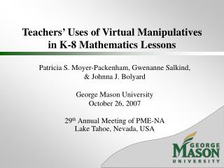Teachers' Uses of Virtual Manipulatives in K-8 Mathematics Lessons