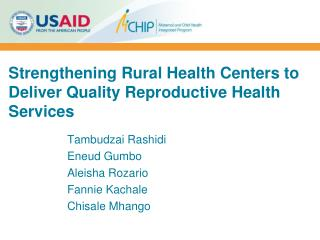 Strengthening Rural Health Centers to Deliver Quality Reproductive Health Services