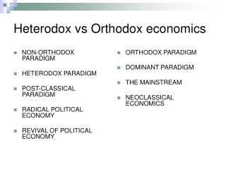 Heterodox vs Orthodox economics