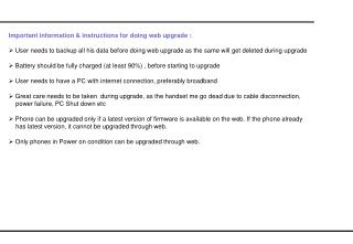 Important information & instructions for doing web upgrade :