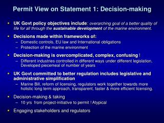 Permit View on Statement 1: Decision-making