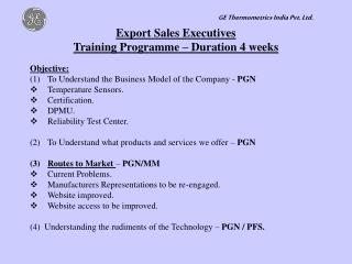 Export Sales Executives Training Programme – Duration 4 weeks