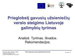 Prieglobstį gavusių užsieniečių verslo steigimo Lietuvoje galimybių tyrimas