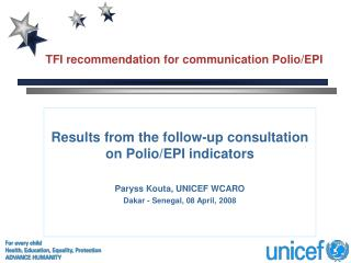 TFI recommendation for communication Polio/EPI