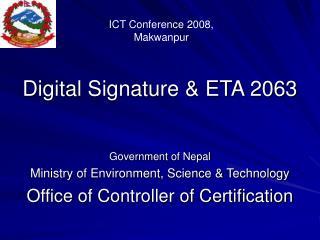 Digital Signature  ETA 2063