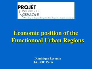 Economic position of the Functionnal Urban Regions