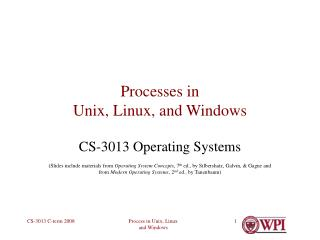 Processes in  Unix, Linux, and Windows