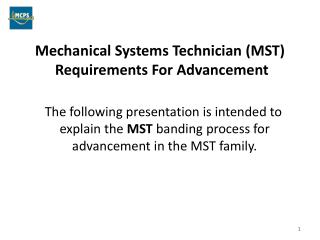 Mechanical Systems Technician (MST)  Requirements For Advancement