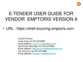 E-TENDER  USER GUIDE FOR  VENDOR   EMPTORIS  VERSION 9