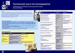 Psychosociale zorg in het verzorgingstehuis
