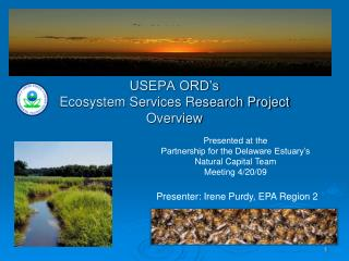 USEPA ORD's Ecosystem Services Research Project Overview