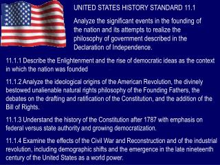 UNITED STATES HISTORY STANDARD 11.1