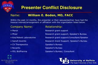 Presenter Conflict Disclosure