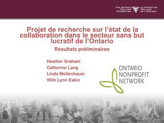 Projet de recherche sur l'état de la collaboration dans le secteur sans but lucratif de l'Ontario