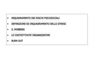 INQUADRAMENTO DEI RISCHI PSICOSOCIALI DEFINIZIONE ED INQUADRAMENTO DELLO STRESS IL MOBBING