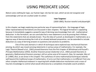 USING PREDICATE LOGIC
