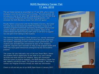 NUHS Residency Career Fair 17 July 2010