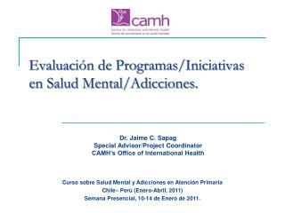 Evaluación de Programas/Iniciativas en Salud Mental/Adicciones.