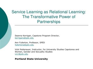 Service Learning as Relational Learning: The Transformative Power of Partnerships