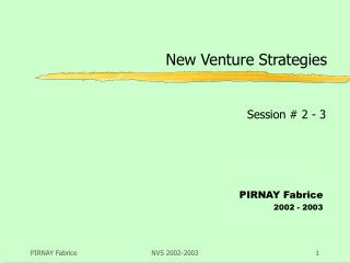 New Venture Strategies