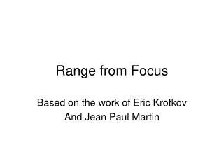 Range from Focus