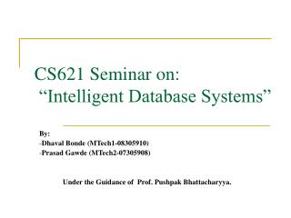 CS621 Seminar on:  �Intelligent Database Systems�
