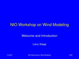 NIO Workshop on Wind Modeling