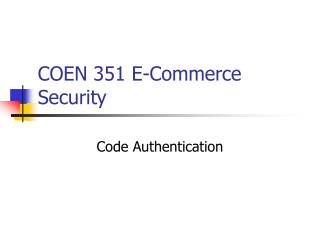 COEN 351 E-Commerce Security