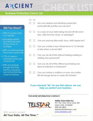 TelStar Associates Inc.	 901 Pier View Drive Suite 204 Idaho Falls, ID 83402 208-343-3894