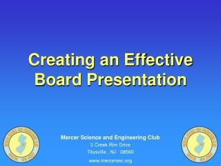 Creating an Effective Board Presentation