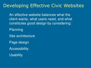 Developing Effective Civic Websites