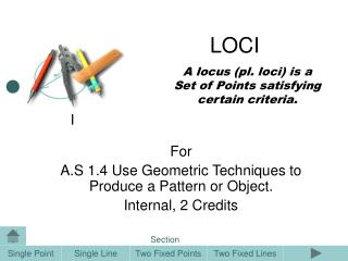 A locus (pl. loci) is a Set of Points satisfying certain criteria.