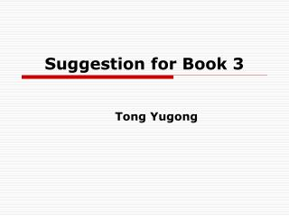 Suggestion for Book 3