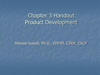Chapter 3 Handout Product Development