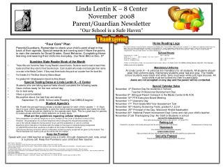 "Linda Lentin K – 8 Center November  2008 Parent/Guardian Newsletter ""Our School is a Safe Haven"""