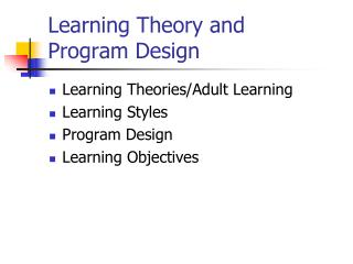 Learning Theory and  Program Design
