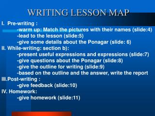 WRITING LESSON MAP