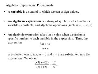 Algebraic Expressions; Polynomials