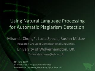 Using Natural Language Processing for Automatic Plagiarism Detection