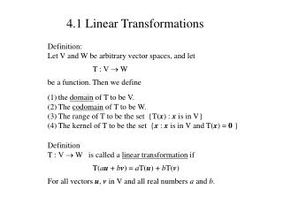 4.1 Linear Transformations