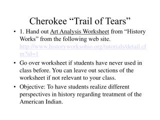 "Cherokee ""Trail of Tears"""