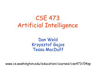 CSE 473  Artificial Intelligence