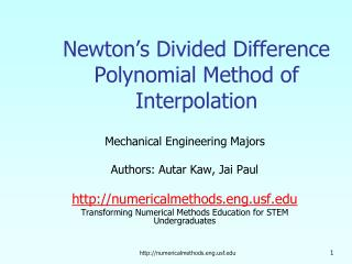 Newton�s Divided Difference Polynomial Method of Interpolation