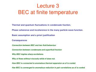 Lecture 3 BEC at finite temperature