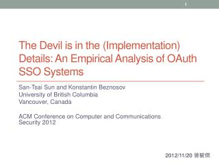 The Devil is in the (Implementation) Details: An Empirical Analysis of OAuth SSO Systems