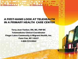 A FIRST-HAND LOOK AT TELEHEALTH       IN A PRIMARY HEALTH  CARE CENTER